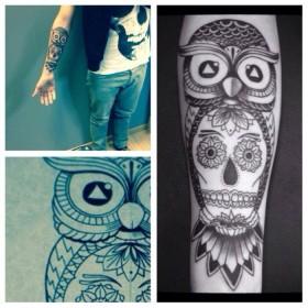 Pin bras tattoo tatouage temporaire code barre cou poignet signification on pinterest - Signification tatouage chouette ...